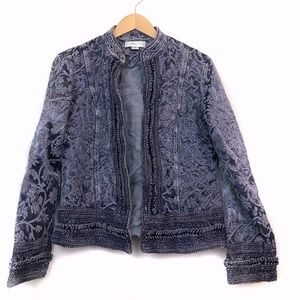 COLDWATER CREEK Blue Tapestry Jacquard Jacket Top